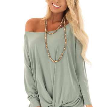 Sage Off the Shoulder Top with Twist and Drape Detail