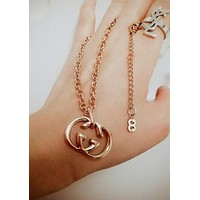 GUCCI Popular Women Men Classic Double G Pendant Necklace Simple Collarbone Chain Accessories Jewelry Golden I12311-1