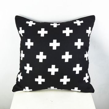Nordic almofadas decorativas Decorative Throw Pillow cushion Swiss Cross Cushions Pillowcase black white cushion both side print
