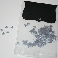 200 Hand Punched Mickey Mouse confetti Silver Acid Free Weddings Birthday Disney