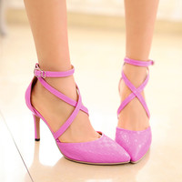 Ankle Straps Stiletto Sandals Women Pumps High Heels Shoes Woman
