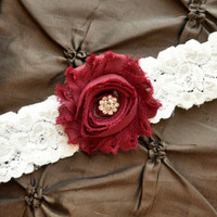 Wedding Garter, Bridal Garter - White Lace Garter, Toss Garter, Shabby Chiffon, Maroon Wedding Garter, Burgundy Wedding Garter