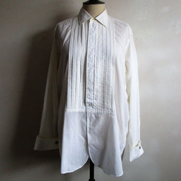 70s White Tuxedo Shirt Lace Trim Pleated 1970s Lion of Troy Mens Dress Shirt