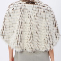 Variegated Poncho Style Faux Fur Coat