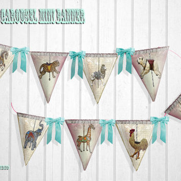 Mini Banner victorian Carousel  design instant download