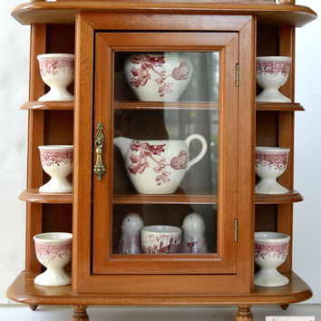 English Chippendale Style Wood Hanging Wall Curio Cabinet Display