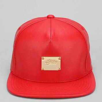Stussy Lux Faux-Leather Snapback Hat-