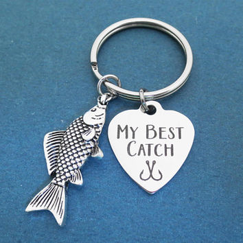 MY BEST CATCH, Hooked on you, Key ring, Love, Heart, Keychain, Birthday, Lovers, Best friends, Gift, Jewelry, Accessory