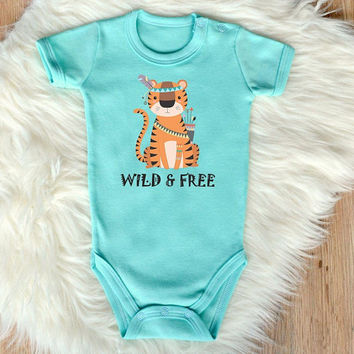 Wild And Free Baby Shirt. Cute Safari Themed Baby Romper With Tiger Print. Baby Girl or Baby Boy Romper. Baby Shower Gift. Boho Baby Clothes