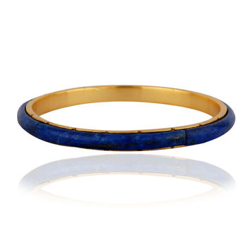 18K Yellow Gold Plated Lapis Lazuli Sleek Bangle Womens Jewelry