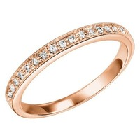 10K Rose Gold .12cttw Bead Set Diamond Stackable Ring