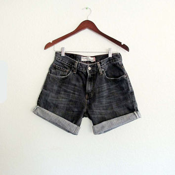 Levi's 559 Shorts, W 29 30 cut-off shorts Roll up Black Jeans Nice Fading Zip Fly