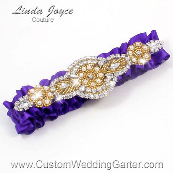Purple and Gold Vintage Wedding Garter Rhinestone 465 Eggplant Purple Custom Luxury Prom Garter Plus Size & Queen Size Available