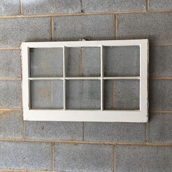 Vintage 6 Pane Window Frame - White Window, 27 x 20, Rustic, Wedding Decor, Beach Decor, Photos, Pictures, Holiday Decor, Farmhouse