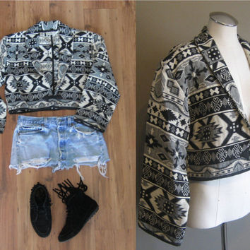 vintage Southwestern Cropped Blazer / Black and White Navajo Jacket /  Blanket Coat