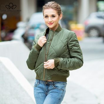 Quilted bomber jacket zippered long sleeve winter jacket cotton-padded