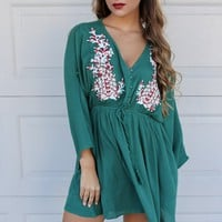 Great Heights Hunter Green Solid Kimono Dress