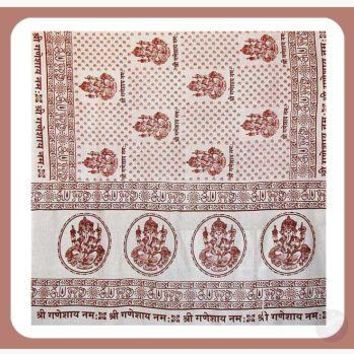 Ganesh White Prayer Shawl