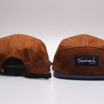 Diamond 5 Panel Cap Hat Classic Strapback Bone Diamond Five Panel Snapback Gorro Brown Hip Hop Hat for Men & Women