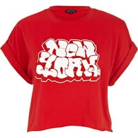 River Island Womens Red New York graffiti print cropped t-shirt