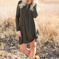 Tara Lace-Up Dress (Olive)
