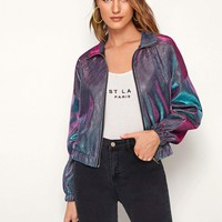 Zip Front Metallic Jacket
