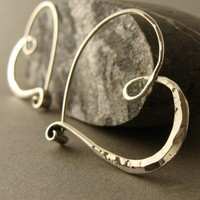 sterling silver heart hoops hammered endless style petites | 2trickpony - Jewelry on ArtFire