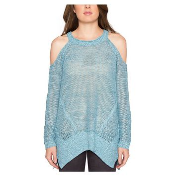 Willow & Clay – Azure Open Knit Cold Shoulder Sweater