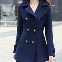 Double Breasted Trench Woolen Coat