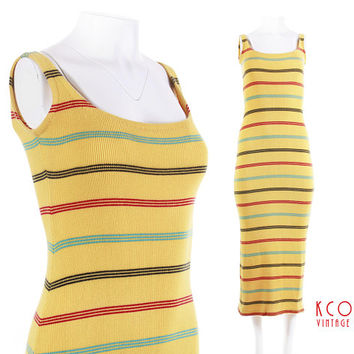 1990 s Maxi Dress Ribbed Knit Yellow Striped Grunge Vintage Clot 9d3064636
