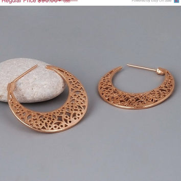 Rose Gold Hoops Lace Earrings, Hoops Earrings, Gold Coated Jewelry, Filigree Earrings, Bridal Earrings, Vintage Style Hoops - Victorain Hoop
