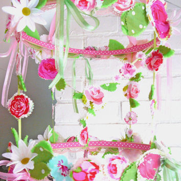 Flower Chandelier - Fabric Flower Mobile / Flower Decor / Hanging Flowers / Pink Floral Room / Shabby Chic Nursery Decor