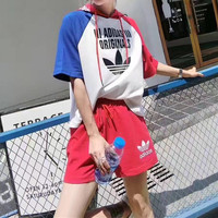"""Adidas"" Women Casual Multicolor Letter Print Hooded Short Sleeve Shorts Set Two-Piece Sportswear"
