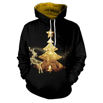 Drawstring Loose Women Christmas Print Hoodie