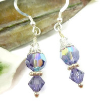 Tanzanite Swarovski Round and Bicone AB Crystals Silver Earrings