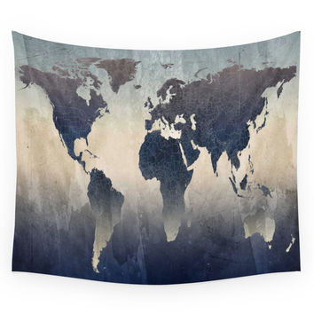 Society6 World Map Gray Wall Tapestry