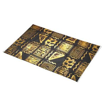 African Tribal Mud Cloth Graphic In Gold Cloth Placemat