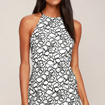 My Belle Black and White Lace Dress