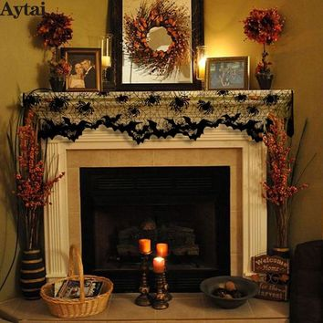 Aytai 1pc Halloween Black Lace Spiderweb Fireplace Mantle Scarf Cover 60x20inch Curtains Shades Festive Party Supplies