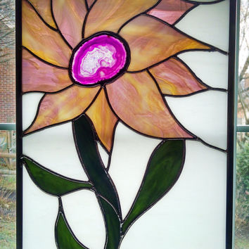 Stained Glass Flower Panel - Sunflower Stained Glass Window - Geode - Purple Pink Mauve Gold - Privacy Screen - Nature Decor - Wedding Gift