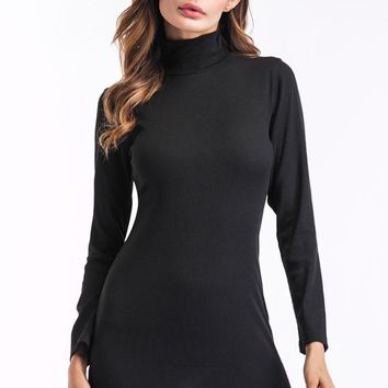 High-Collar Long Sleeve Bodycon Dress in Black