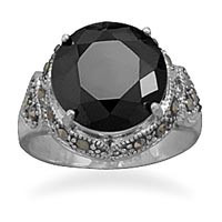 Black Cubic Zirconia and Marcasite Ring
