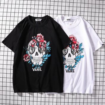 Short Sleeve Skull Cotton Stylish Casual T-shirts [2162531008566]