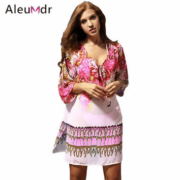 Aleumdr 2017 Women Serpentine Print Kaftan Swimwear Swimsuit Swim Wear Beach Cover Up Saida De Praia Cover-ups LC42156