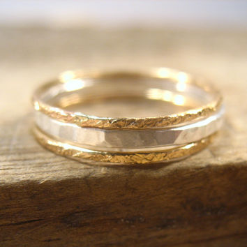 Stacking Ring Set Hammered & Feathered