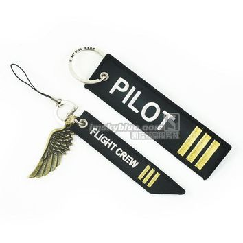 Vice Pilot Keychain Keyring  epaulette style Co-Pilot Luggage Tag & Flight Crew Strap with Metal Wing, Gift for Aviation Lovers