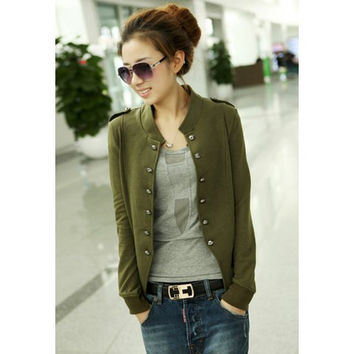 Stand Collar Buttoned Long Sleeve Coat