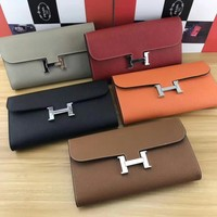 Ready Stock Hermes Women's Leather Constance Wallet