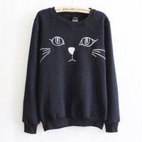 Women's clothing cartoon cat fleece sweater (black)