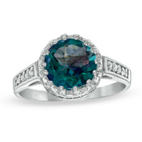 8.0mm Rainbow Blue Quartz and White Topaz Crown Ring in Sterling Silver - View All Rings - Zales